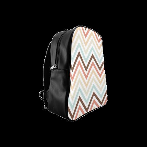 Choco Latte Chevron School Backpack/Large (Model 1601)