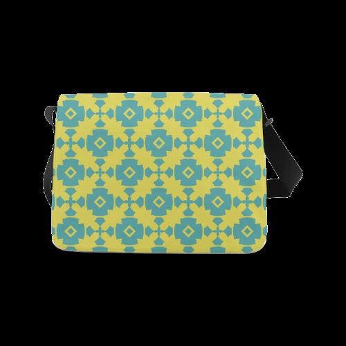 Yellow Teal Geometric Tile Pattern Messenger Bag (Model 1628)