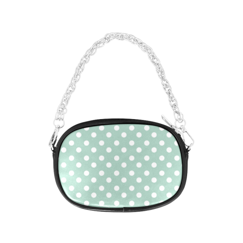 Aqua Polka Dots Chain Purse (Model 1626)