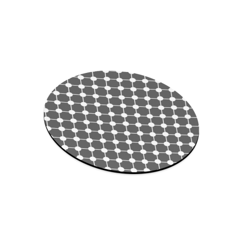 Charcoal Trellis Dots Round Mousepad