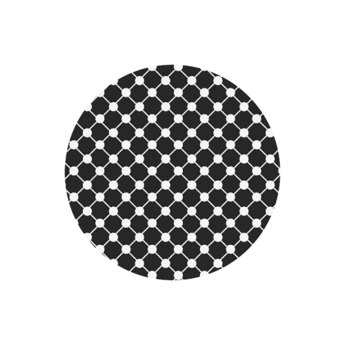 Black and White Trellis Dots Round Mousepad