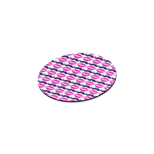Hot Pink Hipster Mustache and Lips Round Coaster