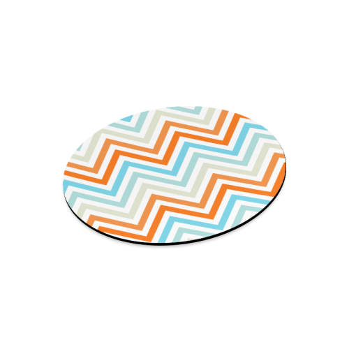 Aqua Orange Chevron Round Mousepad
