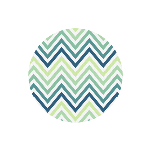 Teal Blue Mint Chevron Round Mousepad