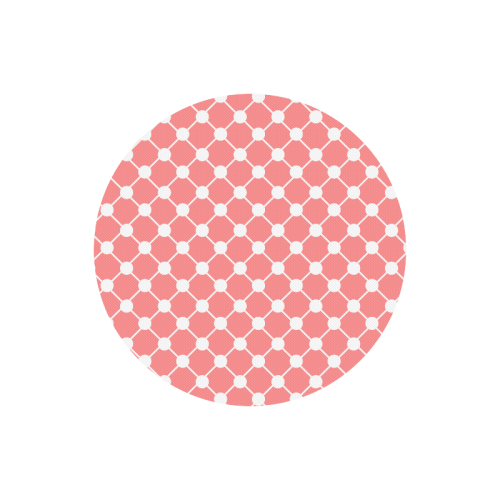 Coral Trellis Dots Round Mousepad
