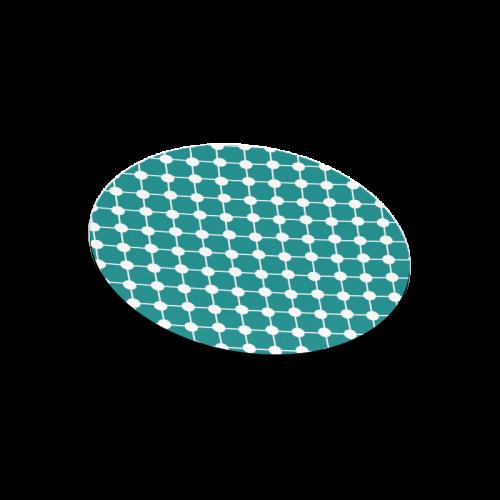 Teal Trellis Dots Round Mousepad