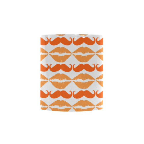 Orange Hipster Mustache and Lips Custom Morphing Mug