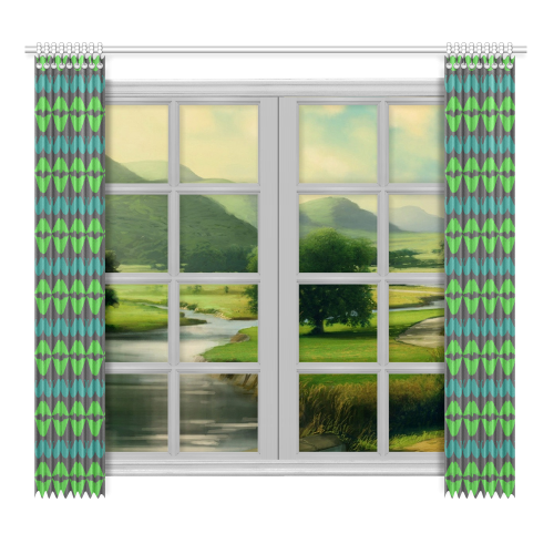 """Green Hipster Mustache and Lips Window Curtain 52""""x96""""(Two Piece)"""