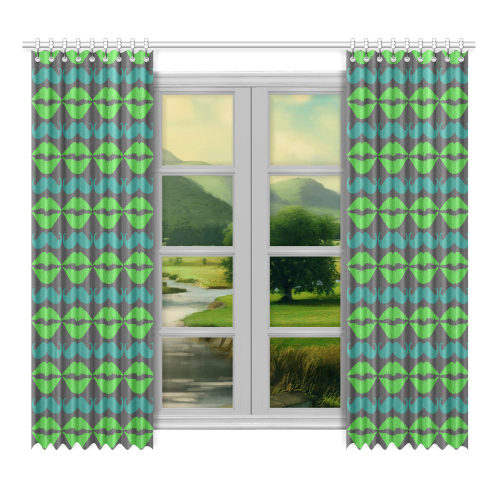 "Green Hipster Mustache and Lips Window Curtain 52""x96""(Two Piece)"