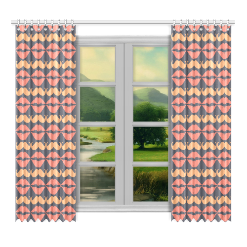 """Orange Charcoal Hipster Mustache and Lips Window Curtain 52""""x96""""(Two Piece)"""