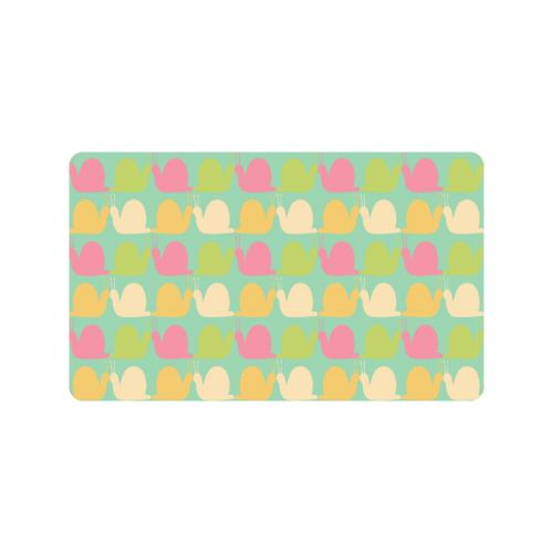 "Pink and Lime Snails Pattern Doormat 30""x18"""