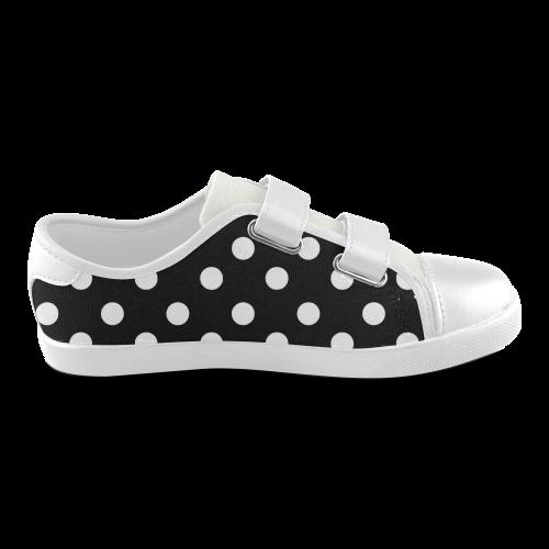 Black Polka Dots Velcro Canvas Kid's Shoes (Model 008)