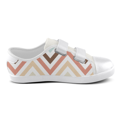 Choco Latte Chevron Velcro Canvas Kid's Shoes (Model 008)