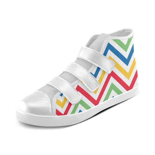 Green Red Chevron Velcro High Top Canvas Kid's Shoes (Model 015)