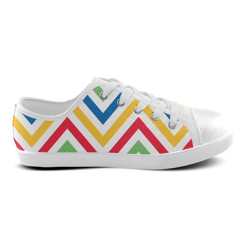 Green Red Chevron Canvas Kid's Shoes (Model 016)