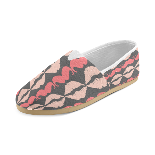 Pink Gray Hipster Mustache and Lips Unisex Casual Shoes (Model 004)