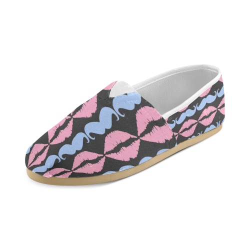 Girly Pink Hipster Mustache and Lips Unisex Casual Shoes (Model 004)