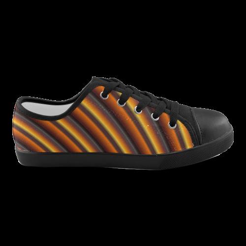 Glossy Honey Caramel Gradient Stripes Canvas Kid's Shoes (Model 016)