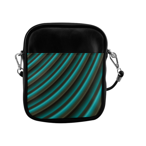 Glossy Green Gradient Stripes Sling Bag (Model 1627)