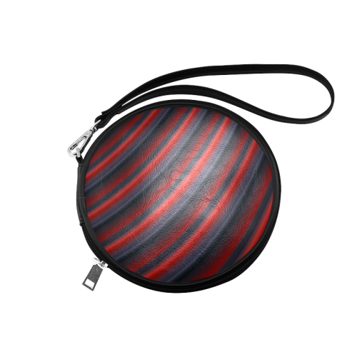 Glossy Red Gradient Stripes Round Makeup Bag (Model 1625)
