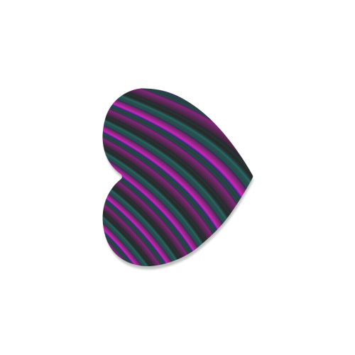 Glossy Purple Gradient Stripes Heart Coaster