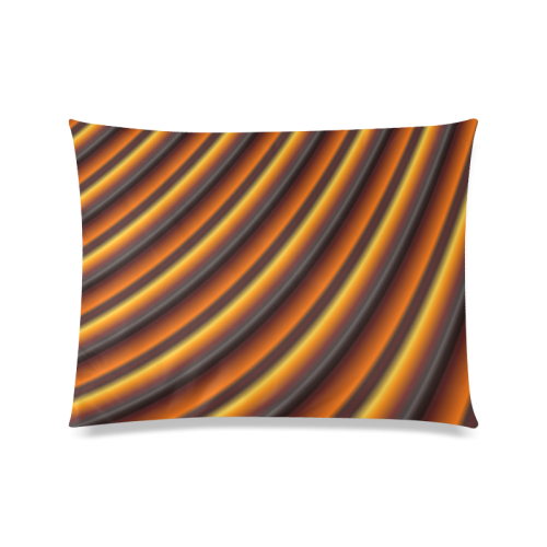 "Fractal2cGlossy Honey Caramel Gradient Stripes Custom Zippered Pillow Case 20""x26""(Twin Sides)"