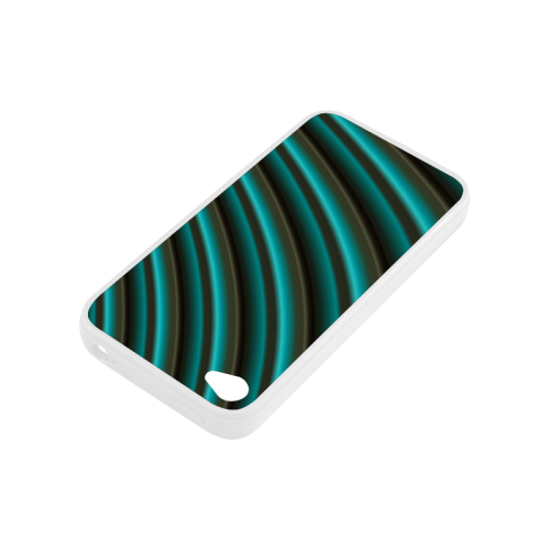 Glossy Green Gradient Stripes Rubber Case for iPhone 4/4s