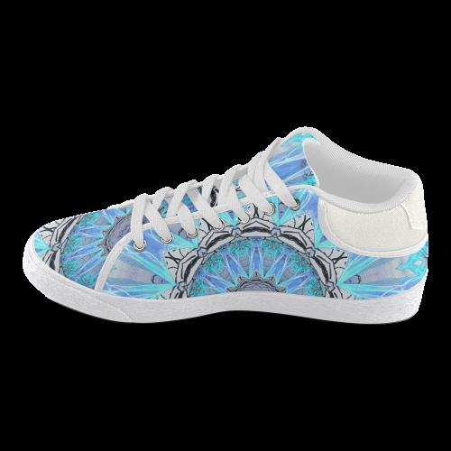 Sapphire Ice Flame Canvas Shoes Women Women's Chukka Canvas Shoes (Model 003)