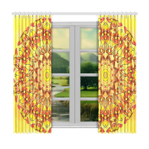 "Orange Sunflower Mandala Window Curtain 50""x96""(Two Piece)"
