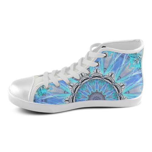 Sapphire Ice Flame Light Men's High Top Canvas Shoes (Model 002)