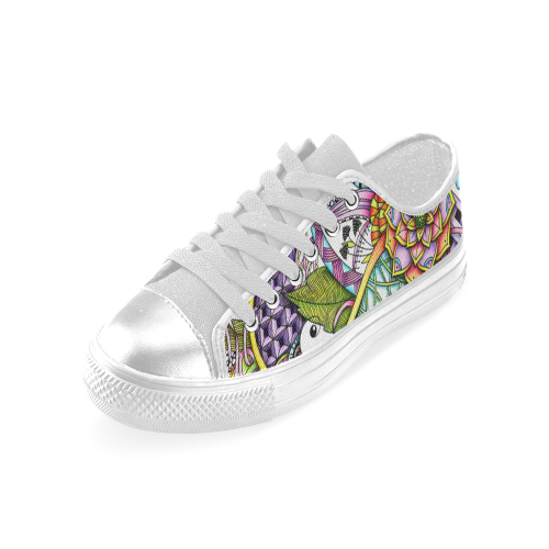 Summer flower design abstract drawing with patterns Women's Classic Canvas Shoes (Model 018)