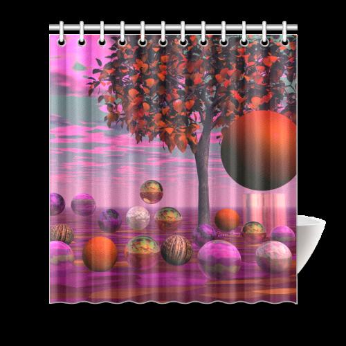 "Bittersweet Opinion, Bronze Raspberry Maple Tree Shower Curtain 66""x72"""