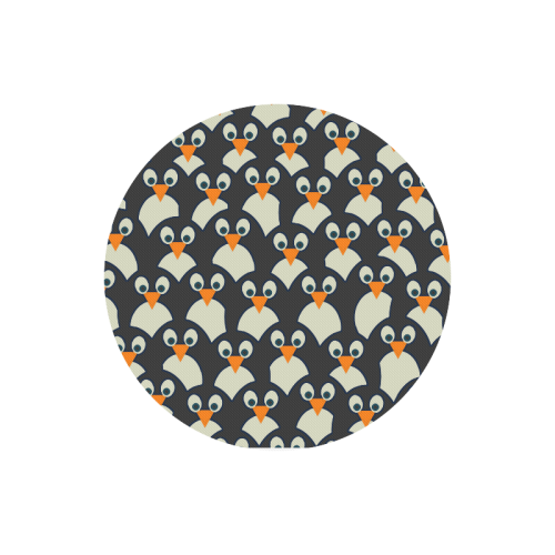 Penguin Pile-Up Round Mousepad