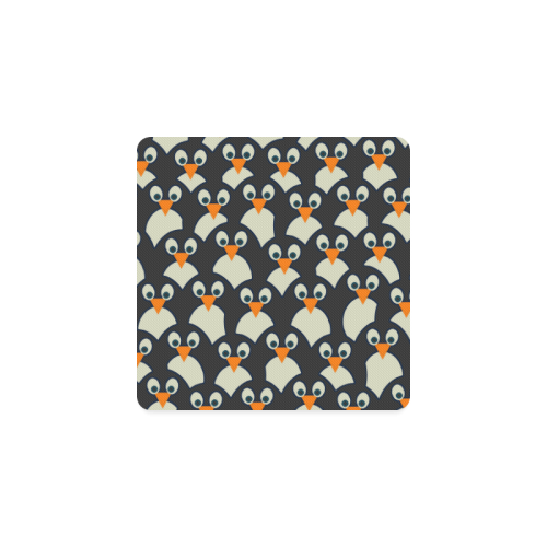 Penguin Pile-Up Square Coaster