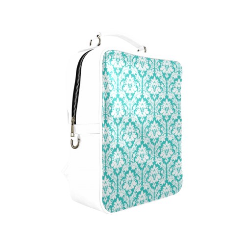 damask pattern turquoise and white Square Backpack (Model 1618)