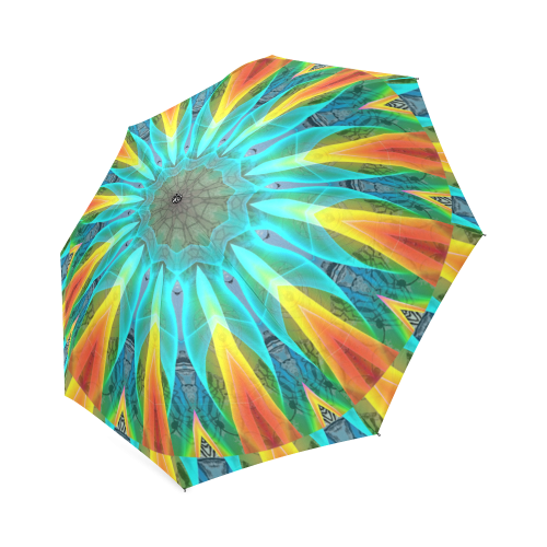 Aqua Gold Joy to the World Flowers, Zen Rainbow Foldable Umbrella