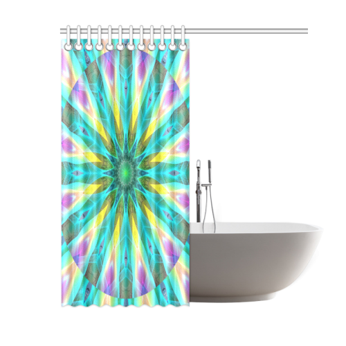 "Golden Violet Peacock Sunrise Abstract Wind Flower Shower Curtain 60""x72"""