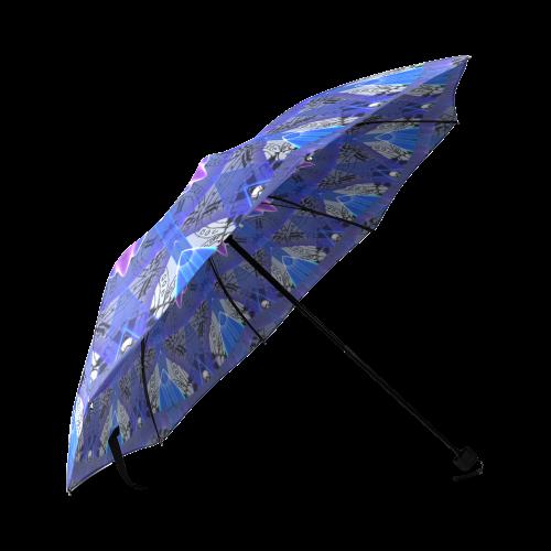 Blue Ice Merry Aqua Violet Foliage Flowers Zen Foldable Umbrella (Model U01)