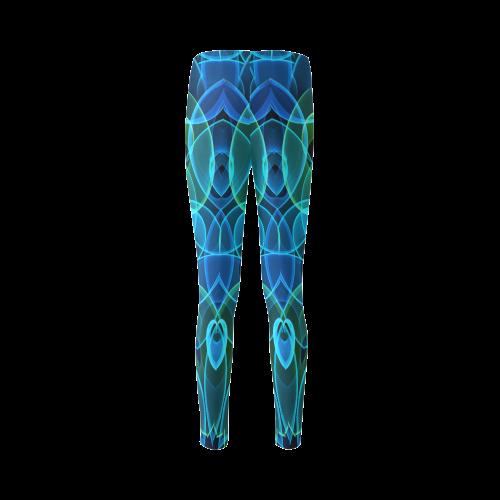 blue green heart gems mandala slice Cassandra Women's Leggings (Model L01)