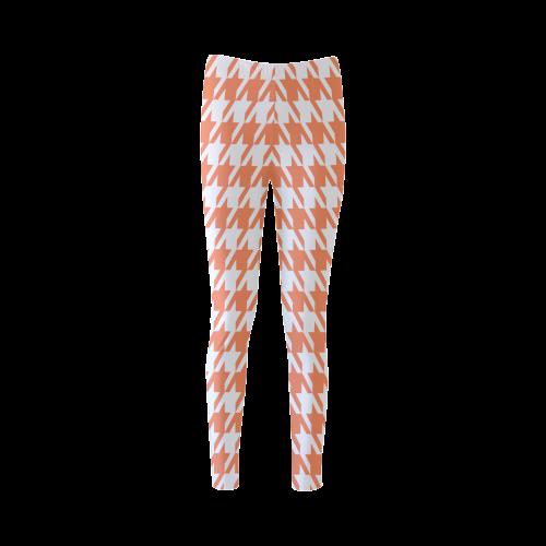 orange and white houndstooth classic pattern Cassandra Women's Leggings (Model L01)