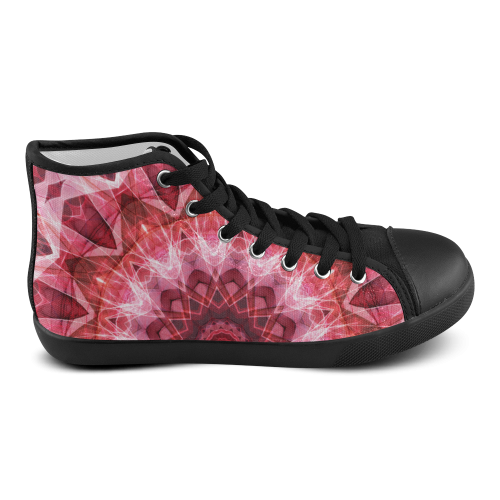 Red abstract mandala abstract art Men's High Top Canvas Shoes (Model 002)