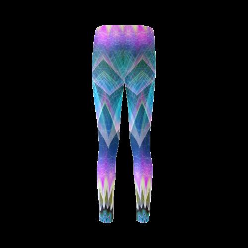 blue pink abstract art mandala slice Cassandra Women's Leggings (Model L01)
