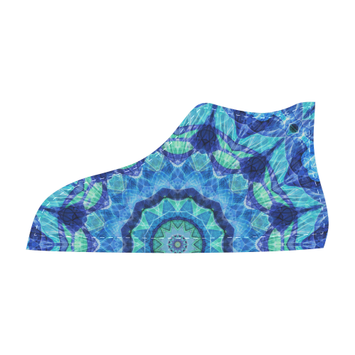 Blue seajewel mandala abstract art Men's High Top Canvas Shoes (Model 002)