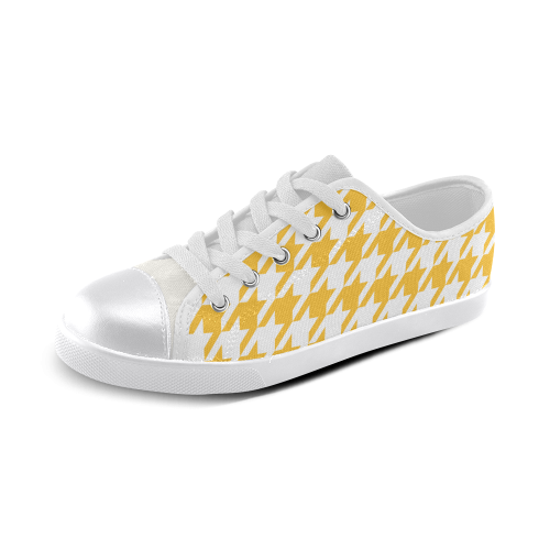 sunny yellow and white houndstooth classic pattern Canvas Kid's Shoes (Model 016)