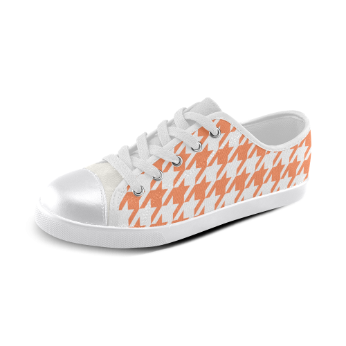 orange and white houndstooth classic pattern Canvas Kid's Shoes (Model 016)