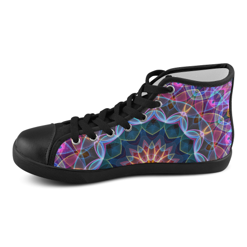 purple lotus abstract art Men's High Top Canvas Shoes (Model 002)