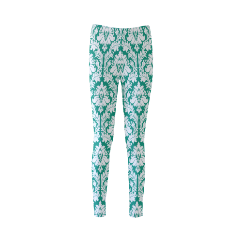 damask pattern emerald green and white Cassandra Women's Leggings (Model L01)
