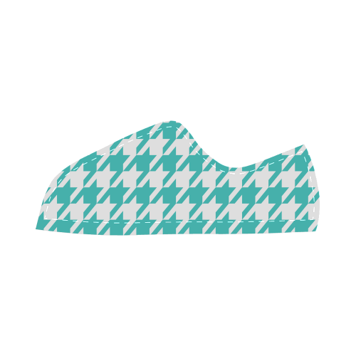 turquoise and white houndstooth classic pattern Canvas Kid's Shoes (Model 016)