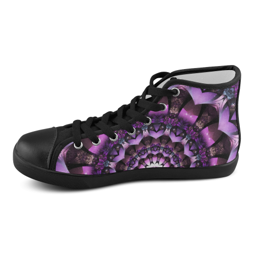 Purple Fairy Flower mandala abstract art Men's High Top Canvas Shoes (Model 002)
