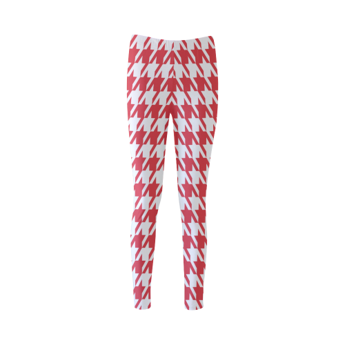 red and white houndstooth classic pattern Cassandra Women's Leggings (Model L01)
